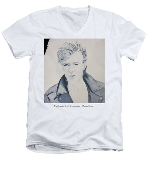 Men's V-Neck T-Shirt featuring the painting The Struggle by Teresa Beyer