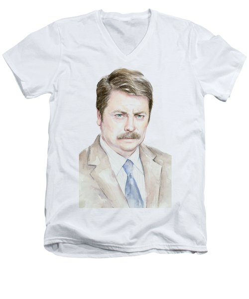 Ron Swanson Watercolor Portrait Men's V-Neck T-Shirt