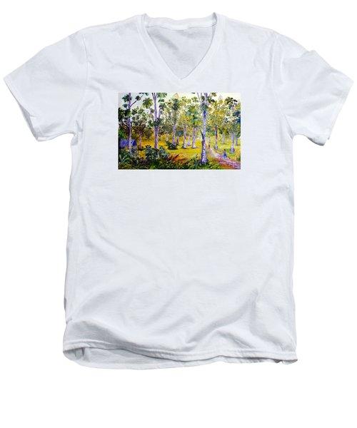 The Teak Garden Men's V-Neck T-Shirt by Jason Sentuf
