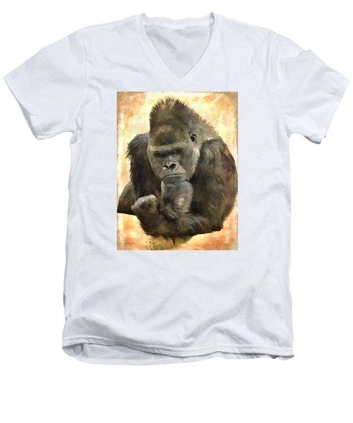 The Thinker Men's V-Neck T-Shirt by Diane Alexander