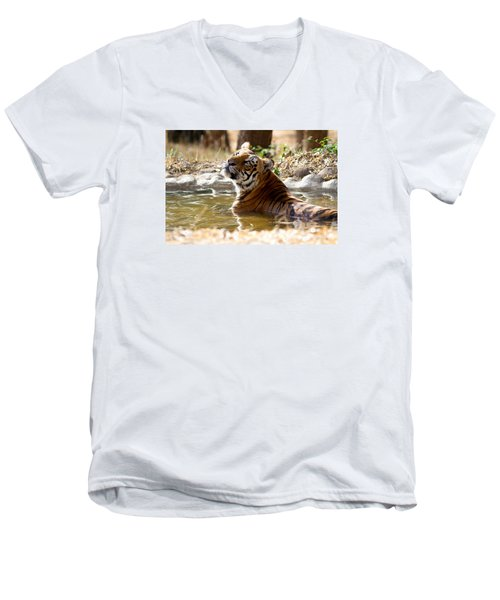 Men's V-Neck T-Shirt featuring the photograph The Thinker by Ramabhadran Thirupattur
