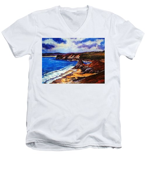 The Three Cliffs Bay Men's V-Neck T-Shirt