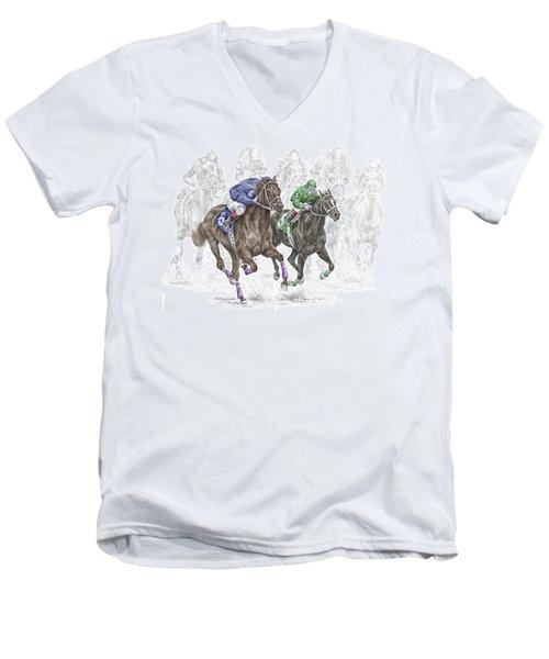 The Thunder Of Hooves - Horse Racing Print Color Men's V-Neck T-Shirt by Kelli Swan