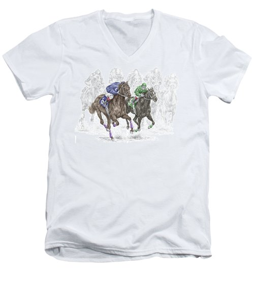 The Thunder Of Hooves - Horse Racing Print Color Men's V-Neck T-Shirt