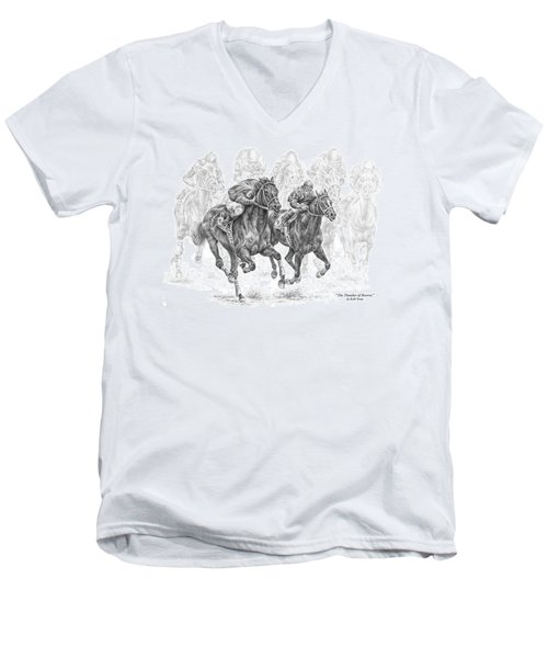 The Thunder Of Hooves - Horse Racing Print Men's V-Neck T-Shirt by Kelli Swan