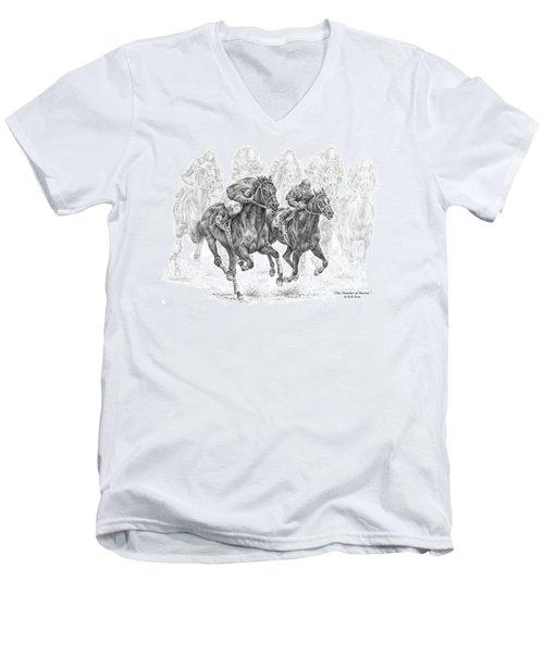 The Thunder Of Hooves - Horse Racing Print Men's V-Neck T-Shirt