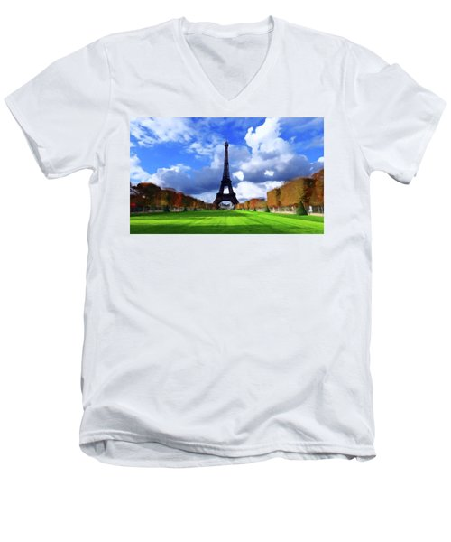 Men's V-Neck T-Shirt featuring the painting The Tower Paris by David Dehner