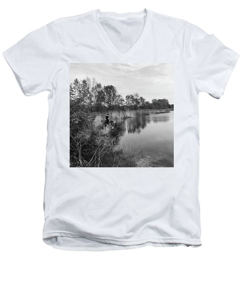 Moving The Water Men's V-Neck T-Shirt by Frank J Casella