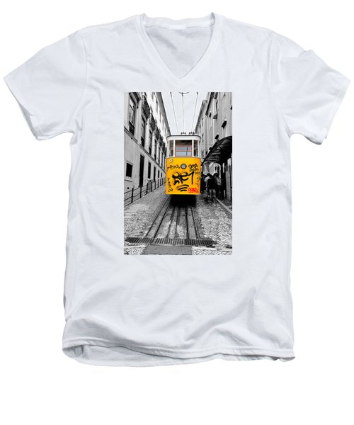 Men's V-Neck T-Shirt featuring the photograph The Tram by Marwan Khoury