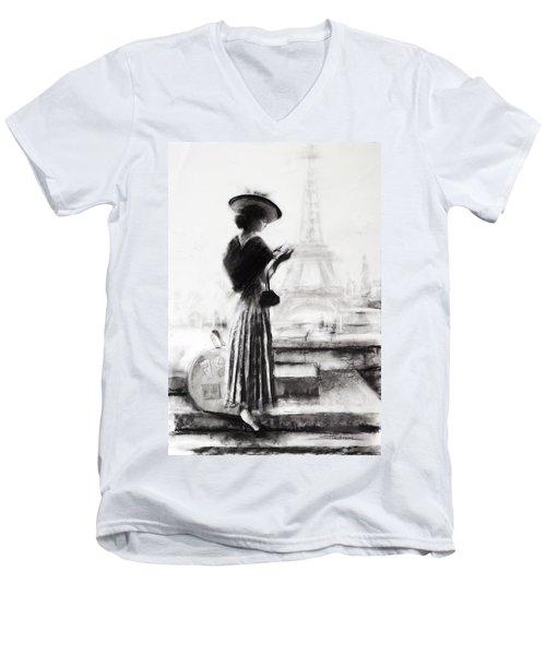 Men's V-Neck T-Shirt featuring the painting The Traveler by Steve Henderson
