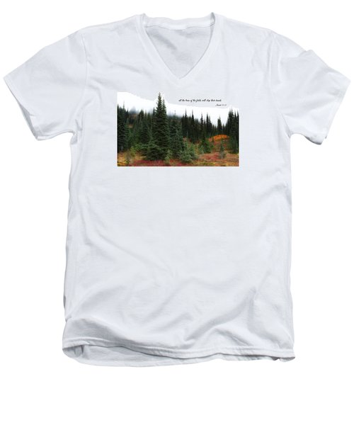 Men's V-Neck T-Shirt featuring the photograph The Trees by Lynn Hopwood