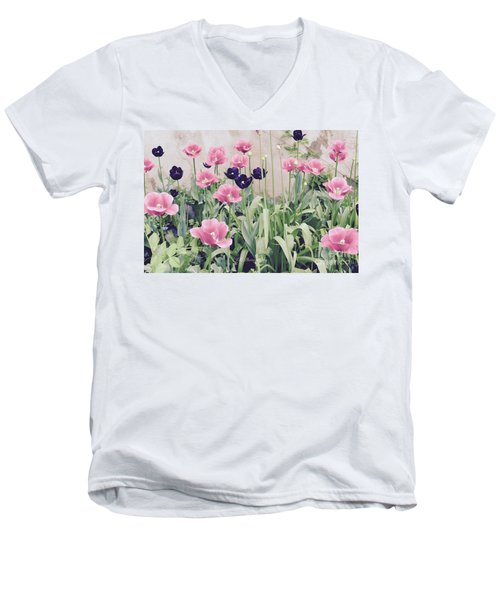 The Tulip Garden Men's V-Neck T-Shirt by Jeannie Rhode