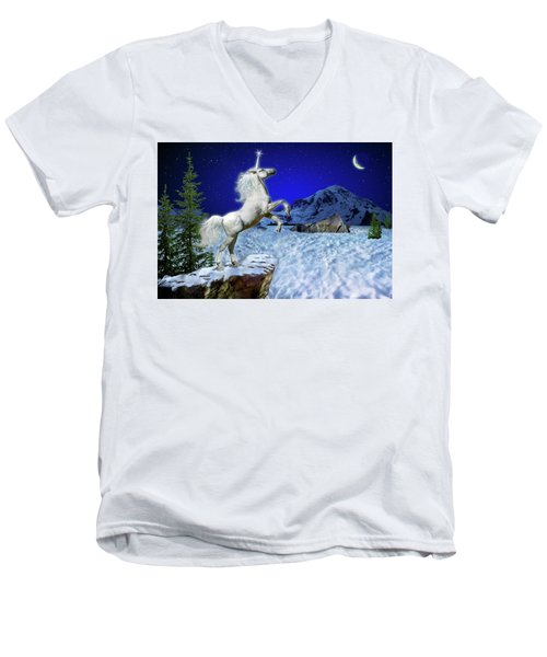 Men's V-Neck T-Shirt featuring the digital art The Ultimate Return Of Unicorn  by William Lee