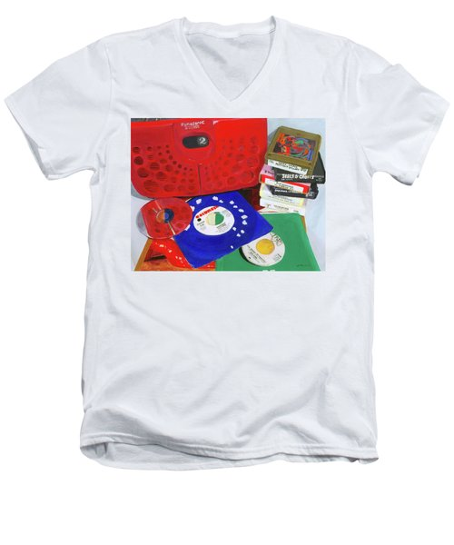 Men's V-Neck T-Shirt featuring the painting The Universal Language by Lynne Reichhart