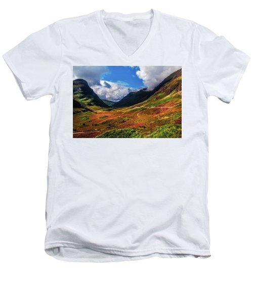 The Valley Of Three Sisters. Glencoe. Scotland Men's V-Neck T-Shirt by Jenny Rainbow