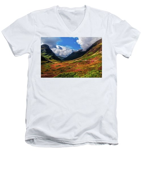The Valley Of Three Sisters. Glencoe. Scotland Men's V-Neck T-Shirt