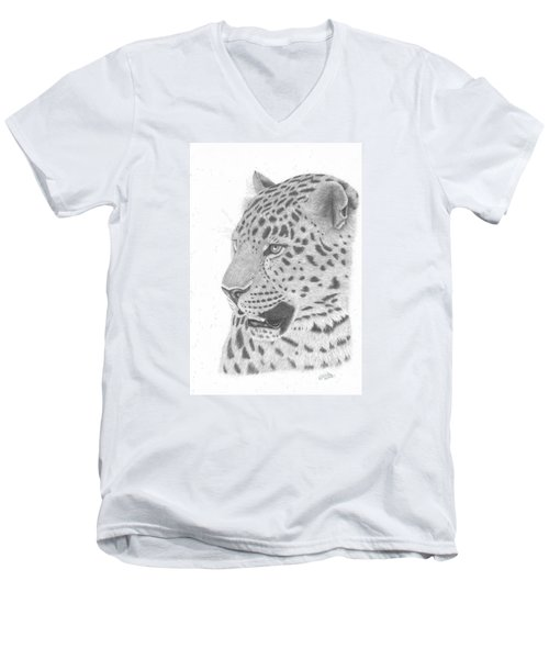 The Watchful Leopard Men's V-Neck T-Shirt by Patricia Hiltz