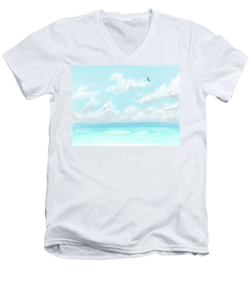 Men's V-Neck T-Shirt featuring the digital art The Waves And Bird by Darren Cannell