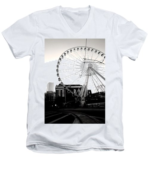 The Wheel Black And White Men's V-Neck T-Shirt