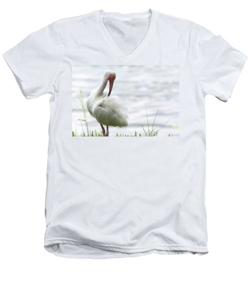 The White Ibis  Men's V-Neck T-Shirt by Saija  Lehtonen