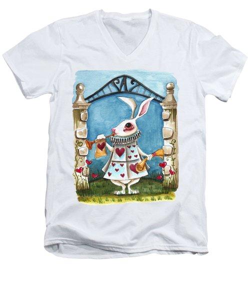 The White Rabbit Announcing Men's V-Neck T-Shirt by Lucia Stewart