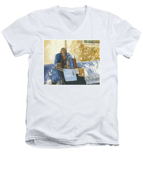 Men's V-Neck T-Shirt featuring the painting The Wineseller by Marlene Book