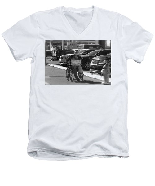 Men's V-Neck T-Shirt featuring the photograph The World Is A Ghetto by Michael Rogers