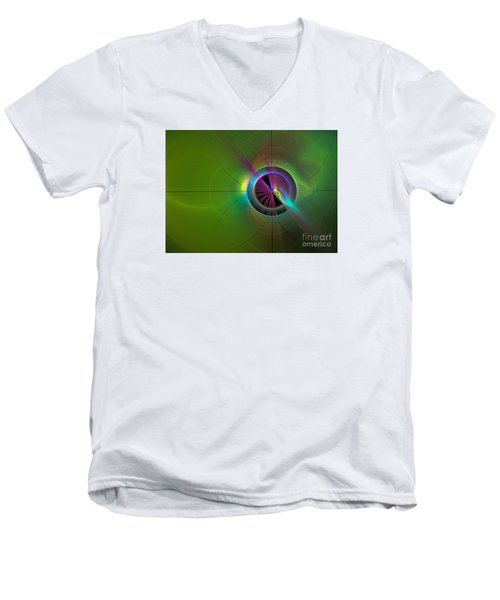 Theory Of Green - Abstract Art Men's V-Neck T-Shirt by Sipo Liimatainen