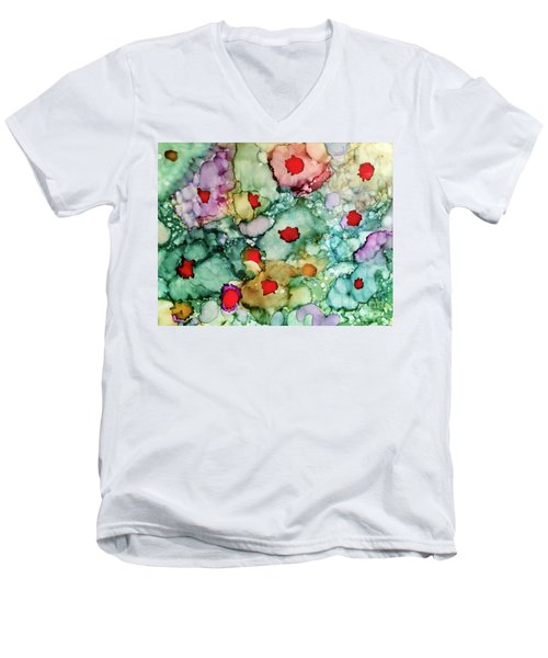 Men's V-Neck T-Shirt featuring the painting Think Spring by Denise Tomasura