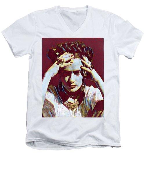 Thinking Frida Men's V-Neck T-Shirt by Gary Grayson