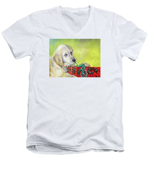 Men's V-Neck T-Shirt featuring the painting This Is Mine? Right? by Donna Tucker