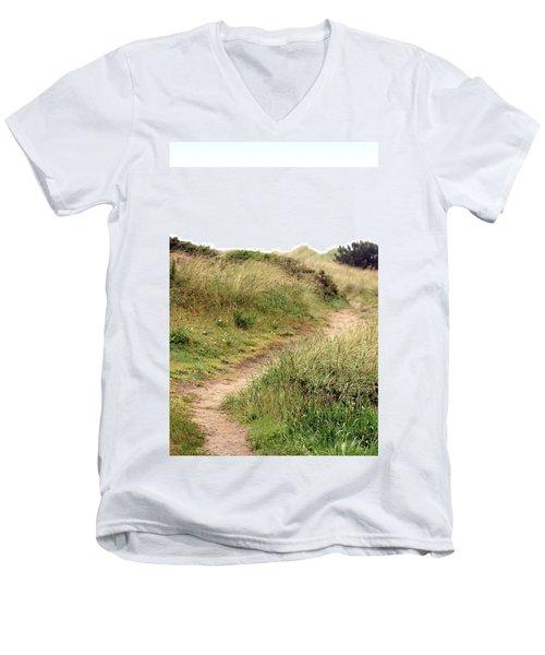 This Way To The Beach Men's V-Neck T-Shirt by Joseph Skompski