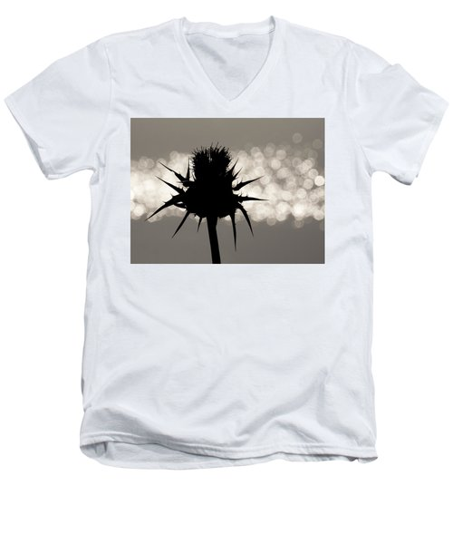 Thistle Silhouette - 365-11 Men's V-Neck T-Shirt by Inge Riis McDonald
