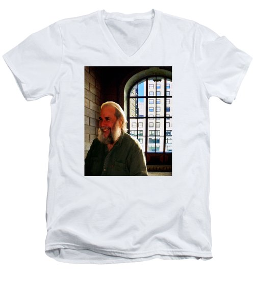 Thom At The Library Men's V-Neck T-Shirt by Timothy Bulone