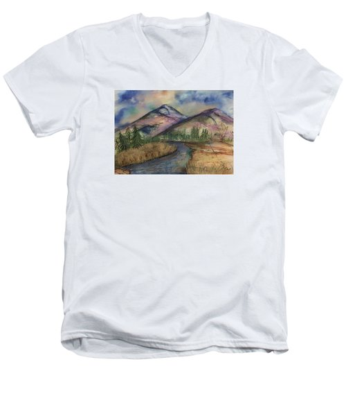 Thoughts Of Glacier Men's V-Neck T-Shirt by Annette Berglund