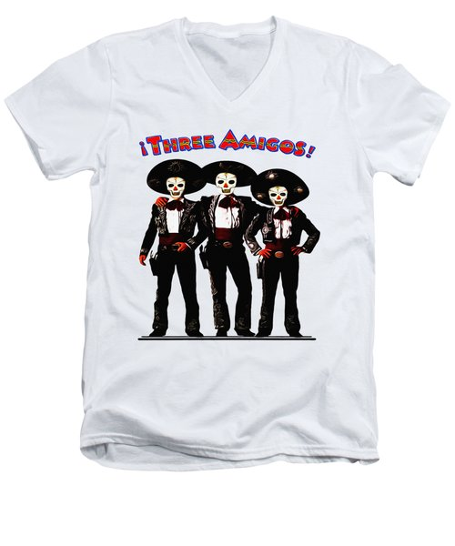 Three Amigos - Day Of The Dead Men's V-Neck T-Shirt by Bill Cannon