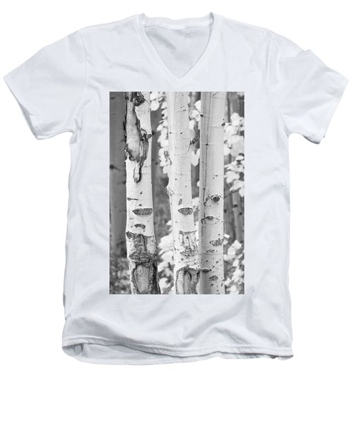 Three Aspens In Black And White  Men's V-Neck T-Shirt