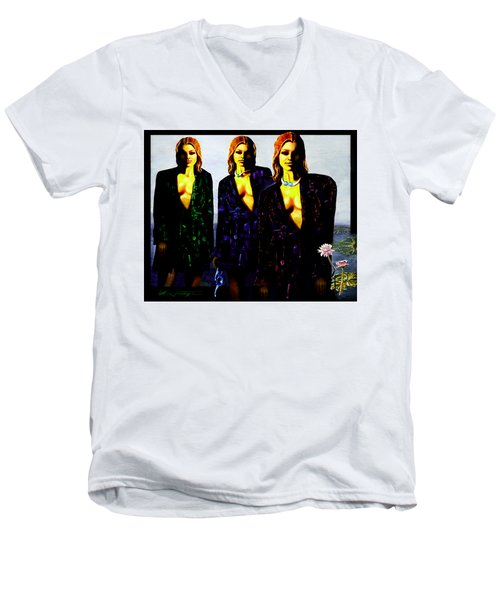 Three  Beautiful Triplet Ladies Men's V-Neck T-Shirt by Hartmut Jager
