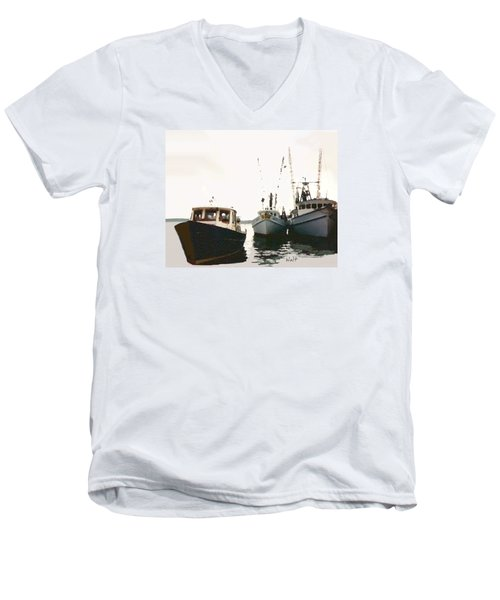 Men's V-Neck T-Shirt featuring the photograph Three Boats by Walter Chamberlain