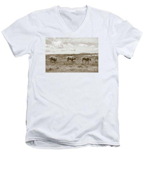 Men's V-Neck T-Shirt featuring the photograph Three Buffalo Calves by Rebecca Margraf