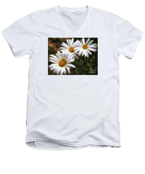 Three Flowers  ... Men's V-Neck T-Shirt by Chuck Caramella