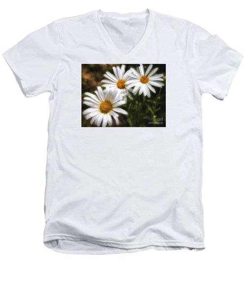 Three Flowers  ... Men's V-Neck T-Shirt