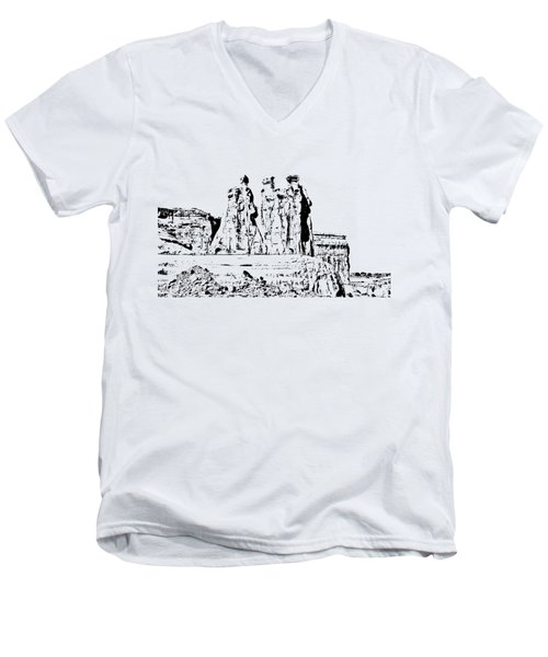 Three Gossips Drawing Men's V-Neck T-Shirt by John M Bailey