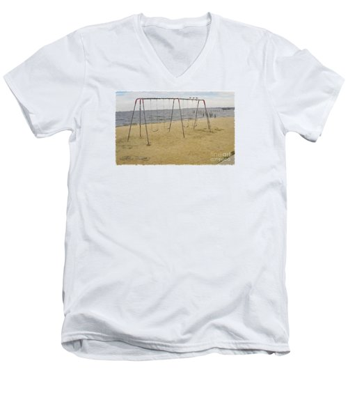 Men's V-Neck T-Shirt featuring the photograph Three Gulls And A Swing Set by Melissa Messick