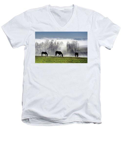Three Horse Morning Men's V-Neck T-Shirt