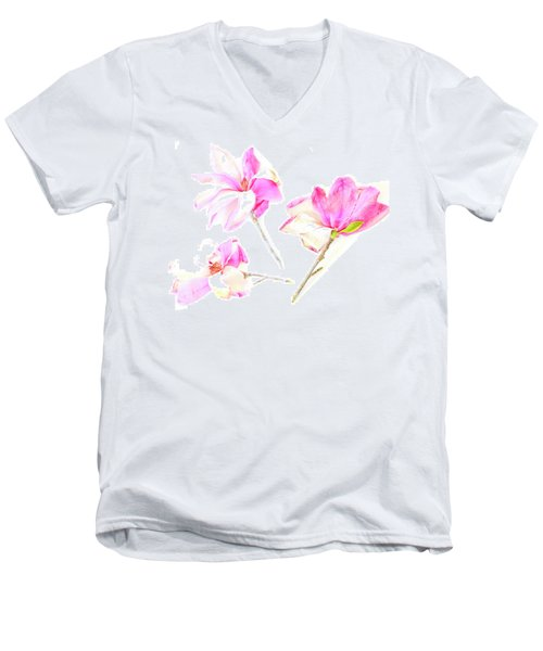 Three Magnolia Flowers Men's V-Neck T-Shirt by Linde Townsend