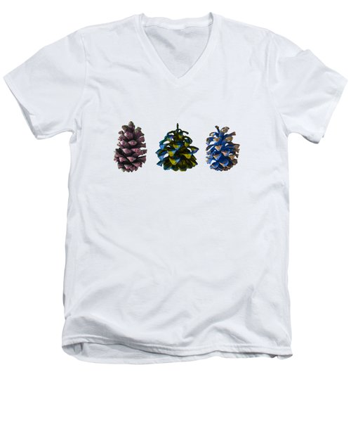 Three Pine Cones Men's V-Neck T-Shirt by Stan  Magnan