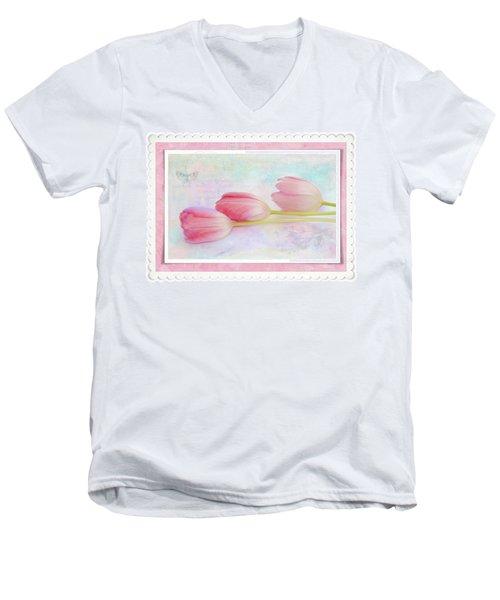 Three Pink Tulips Men's V-Neck T-Shirt
