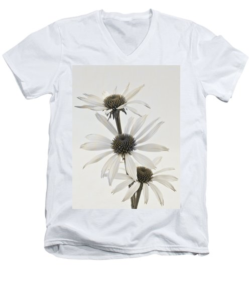Three White Coneflowers Men's V-Neck T-Shirt