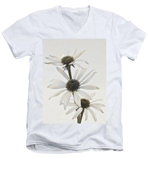 Three White Coneflowers Men's V-Neck T-Shirt